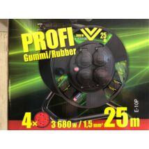 Kábeldob 25m gumikábellel,4 dugalj,  IP44, 3x1,5, 220V