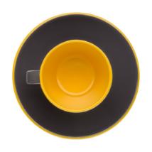 Espresso Kávés készlet 2 főre, fekete sárga, melamin műanyag