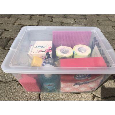 Kemping, utazó, háztartási-higiéniai  szett, dobozban