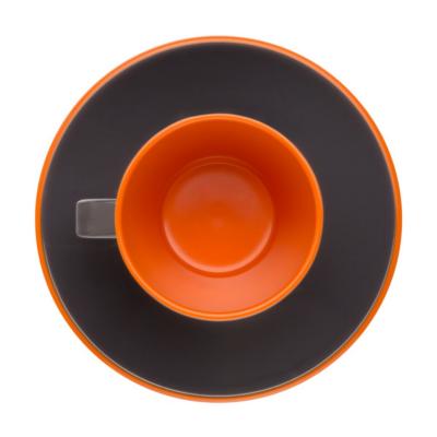 Espresso Kávés készlet 2 főre, fekete narancs, melamin műanyag
