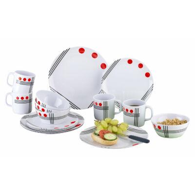 Berger melamin piros pöttyös 16 db-os 4 személyes étkészlet