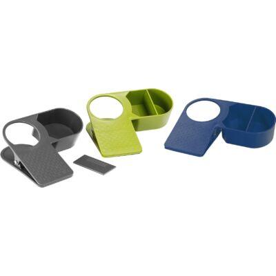 Asztalra csíptethető italtartó, Drinkmaster, több színben, műanyag