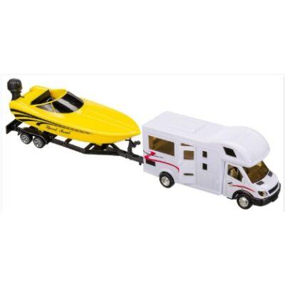 Játék Lakóautó modell hajóval és utánfutóval 36cm