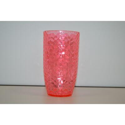 Pohár, vizes, műanyag akril üveg, átlátszó piros