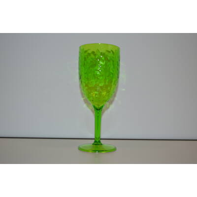 Pohár, boros, akril üveg, műanyag, zöld átlátszó